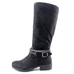 Style & Co Black Motorcycle Boots Buckles 9 NWOB